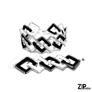 Biało-czarny komplet biżuterii kwadraty