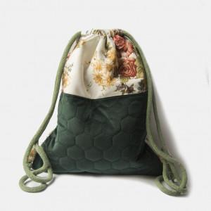 Biało-szmaragdowy welurowy plecak w kwiaty