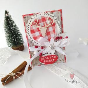 Biały jeleń - kartka świąteczna
