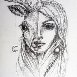 """""""BIAŁY JELEŃ"""" rysunek ołówkiem artystki A. Laube"""