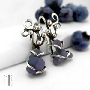 Bilberry I srebrne kolczyki z chalcedonem
