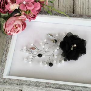 Biżuteryjna gałązka do włosów czarna
