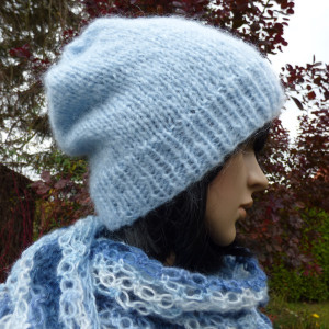 Błękitna czapka moherowa