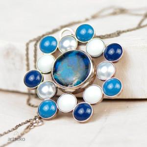 Błękitna mandala naszyjnik srebrny a586