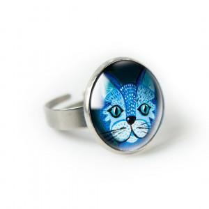 Blue cat pierścionek z ilustracją