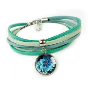 Blue Flower bransoletka z rzemieniami