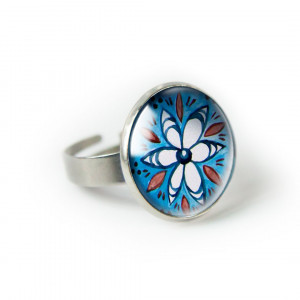 Blue folk pierścionek z ilustracją