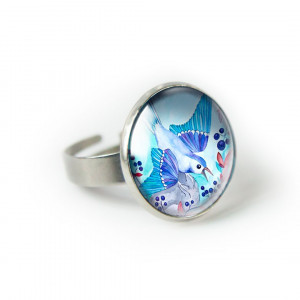 Blueberry bird pierścionek z ilustracją