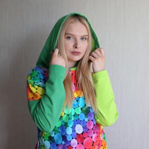 Bluza damska z kapturem TĘCZOWE KULKI