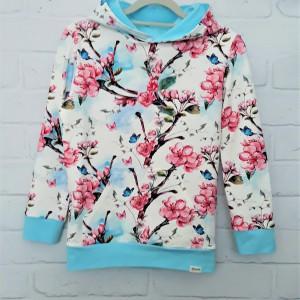Bluza kwiaty czereśni z kieszenią 122 - 134