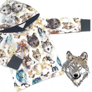 Bluza z kapturem wilki