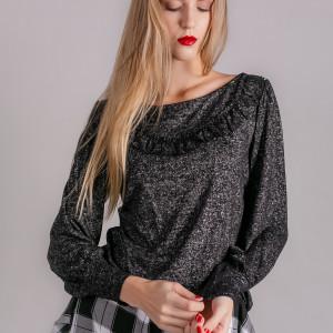 Bluzka damska czarna ze srebrną nitką