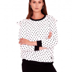 Bluzka LARA Biała w czarne kropki