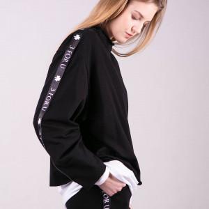 Bluzka sportowa z lampasem Monica-czarna