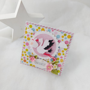 Bocian - kartka z okazji narodzin dziecka