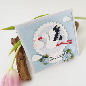 Bocian - kartka z okazji narodzin- niebieska
