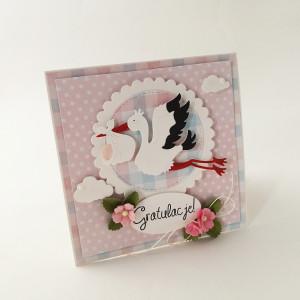 Bocian - kartka z okazji narodzin- pink