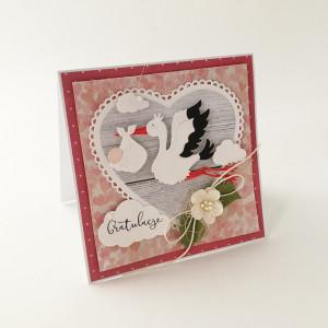 Bocian - kartka z okazji narodzin- róż