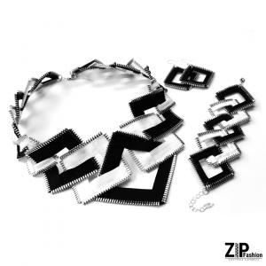 Bogaty komplet czarno-białej biżuterii