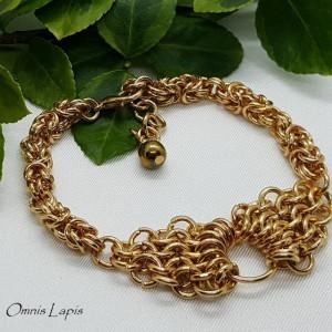 Bransoleta chainmaille ze złotym hematytem 3