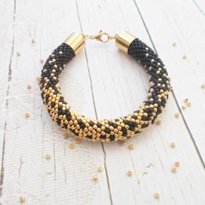 Bransoletka czarno - złota