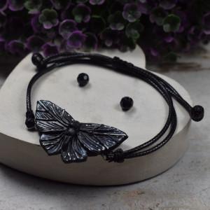 """Bransoletka """"czarny motyl"""" - regulowana"""