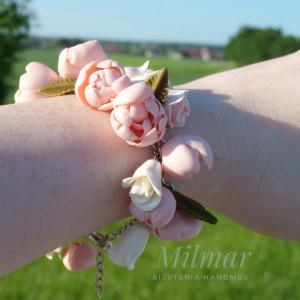 Bransoletka Elegancka- kwiaty FIMO - boho/ślub