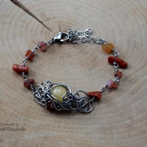 Bransoletka karneol i opal,  wire wrapping