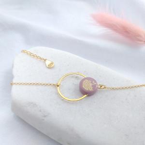 Bransoletka kółko różowe złotko