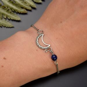Bransoletka księżyc lapis lazuli stal chirurgiczna