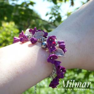 Bransoletka kwiaty BZY fioletowa DELIKATNA