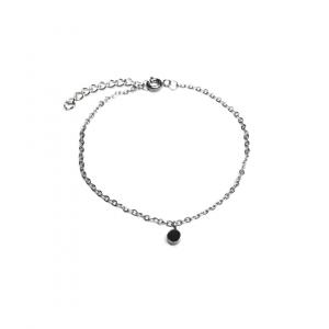 Bransoletka łańcuszek z czarna cyrkonią
