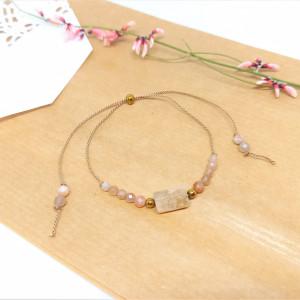 Bransoletka mocy: kamień słoneczny i różowy opal