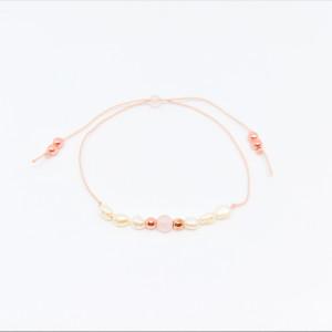 Bransoletka mocy: kwarc różowy, perły, hematyt