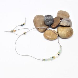 Bransoletka mocy: perła, amazonit, hematyt,prehnit