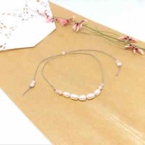 Bransoletka mocy: różowy opal, perła, labradoryt
