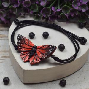 Bransoletka motyl, czarno czerwona