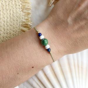Bransoletka na sznurku z zoisytem, lapis lazuli