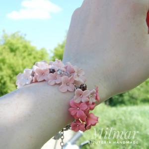Bransoletka OMBRE szaro-różowa z Fimo EFEKTOWNA