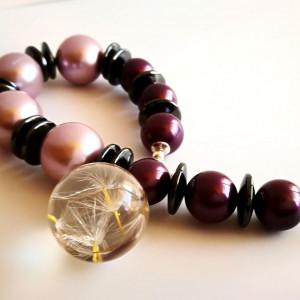 Bransoletka perły, hematyt i zawieszka z żywicy
