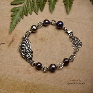 Bransoletka regulowana ciemne perły hodowane