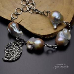 Bransoletka regulowana perły barokowe