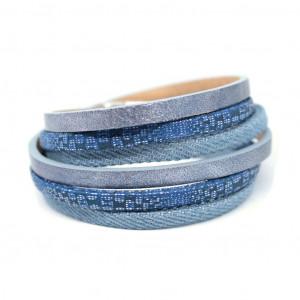 Bransoletka rzemienie Fun blue jeans BF064