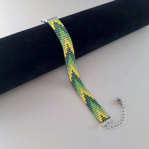 Bransoletka tkana - jodełka zielona #148