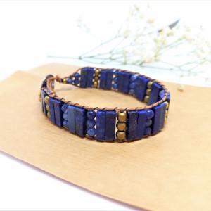 Bransoletka Wrap niebieska sodalit i lapis lazuli