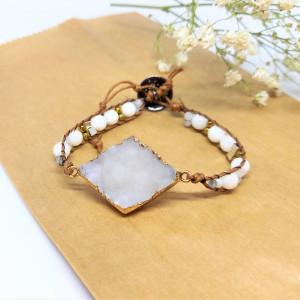 Bransoletka Wrap z kamieniem księżycowym i muszlą