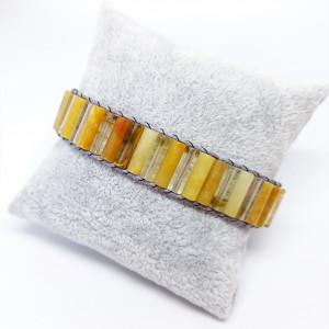 Bransoletka Wrap żółta z agatów