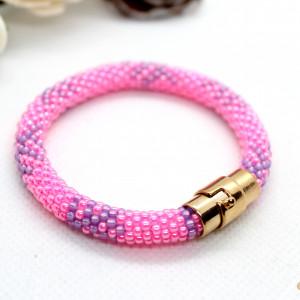 Bransoletka z koralików dla dziewczynki różowa