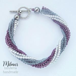 Bransoletka z koralików-fiolet,srebrna,skręcana