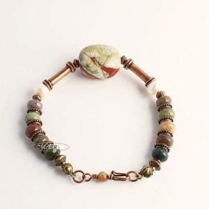 Bransoletka z opalu zielonego, agatu indiańskiego.